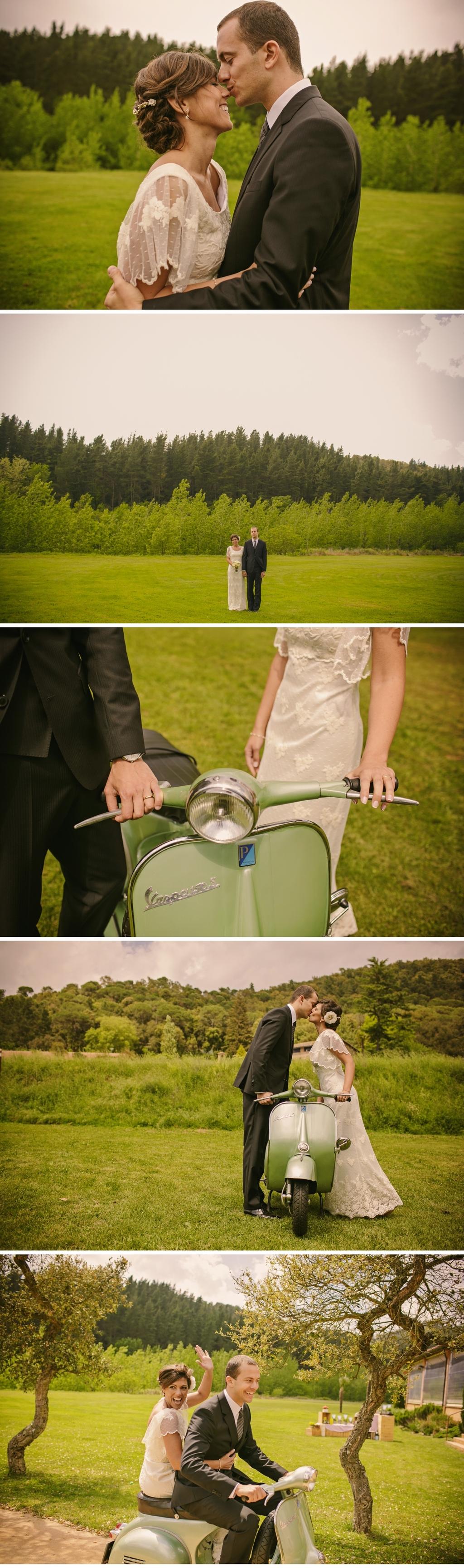 Real-spanish-wedding-otaduy-wedding-dress-outdoor-romantic-bride-and-groom-on-vespa.full