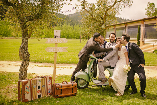Real Spanish Wedding Otaduy Wedding Dress Outdoor Romantic Bride and Groomsmen on Vespa
