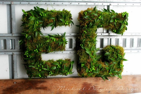 photo of moss and berry wedding initials