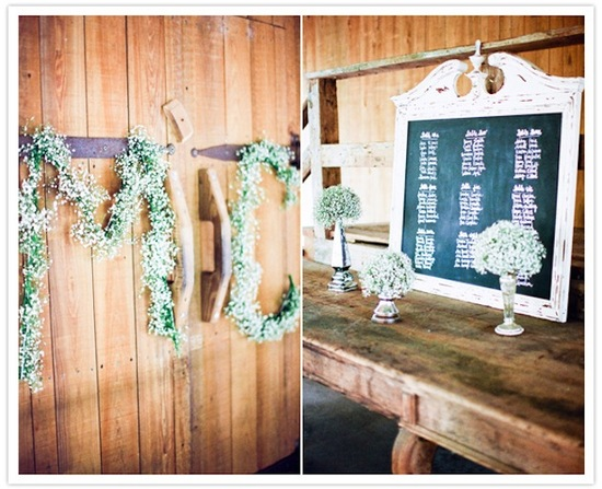 Babys Breath wedding initials door decor