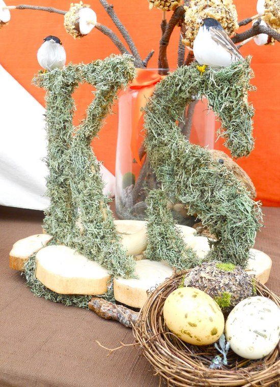 Mossy wedding initials table decor