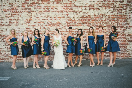 Navy blue bridesmaid dresses with mix and match necklines