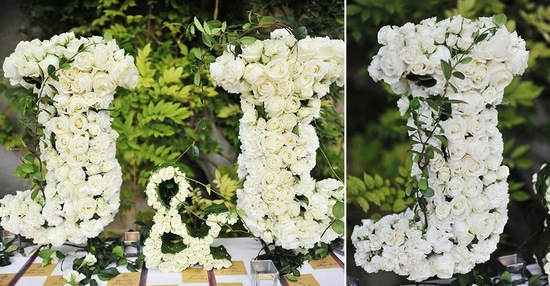 Ivory rose wedding monogram with green accents by Colin Cowie