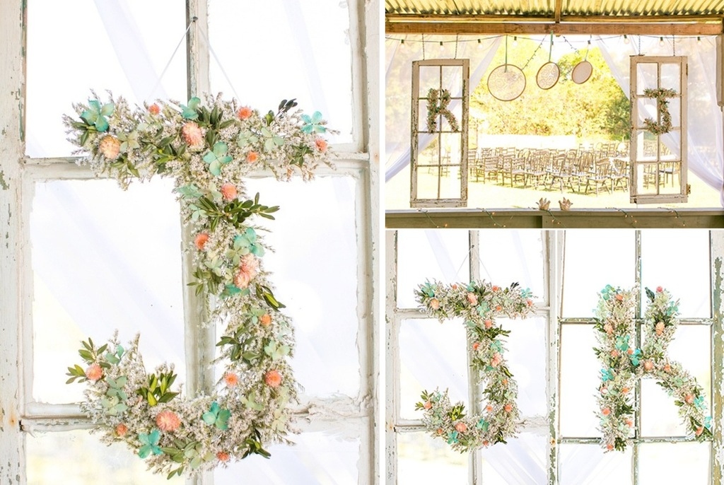 Romantic-floral-wedding-initials-in-sage-peach-and-ivory-at-elegant-reception.full
