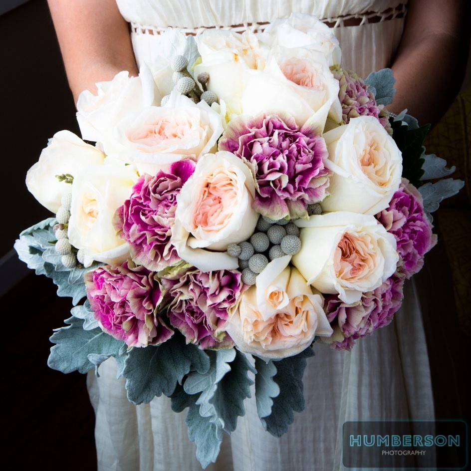 Stunning Bridal Bouquet With Peach Garden Roses Purple Carnations And Lambs Ear