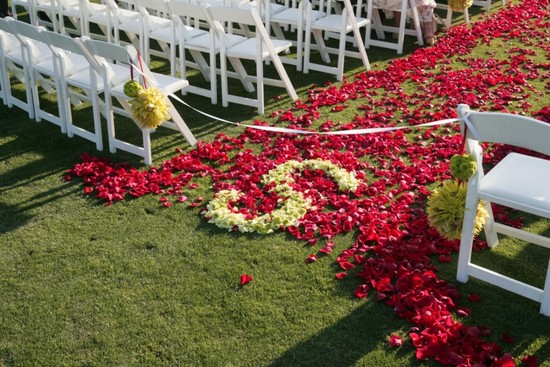 Red and ivory petal wedding ceremony aisle