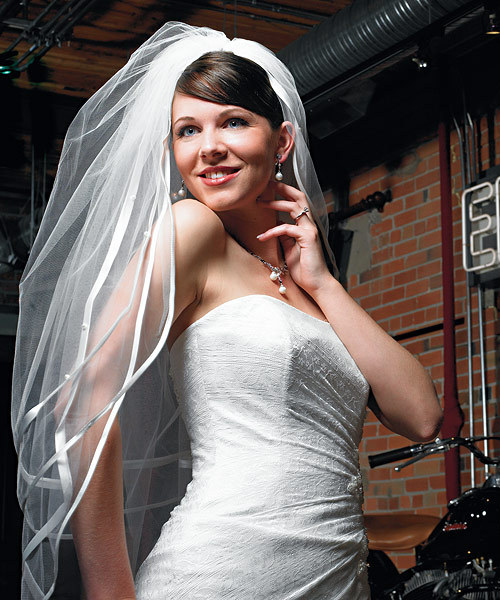 Double Border Veil with Satin Ribbon and Pearls