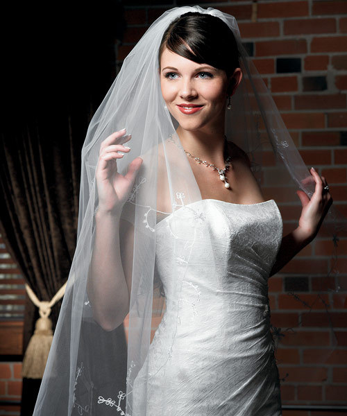 Veil with Floral Embroidery and Cut Edge