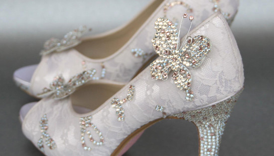 Lace peep toe wedding shoes with beading and crystals