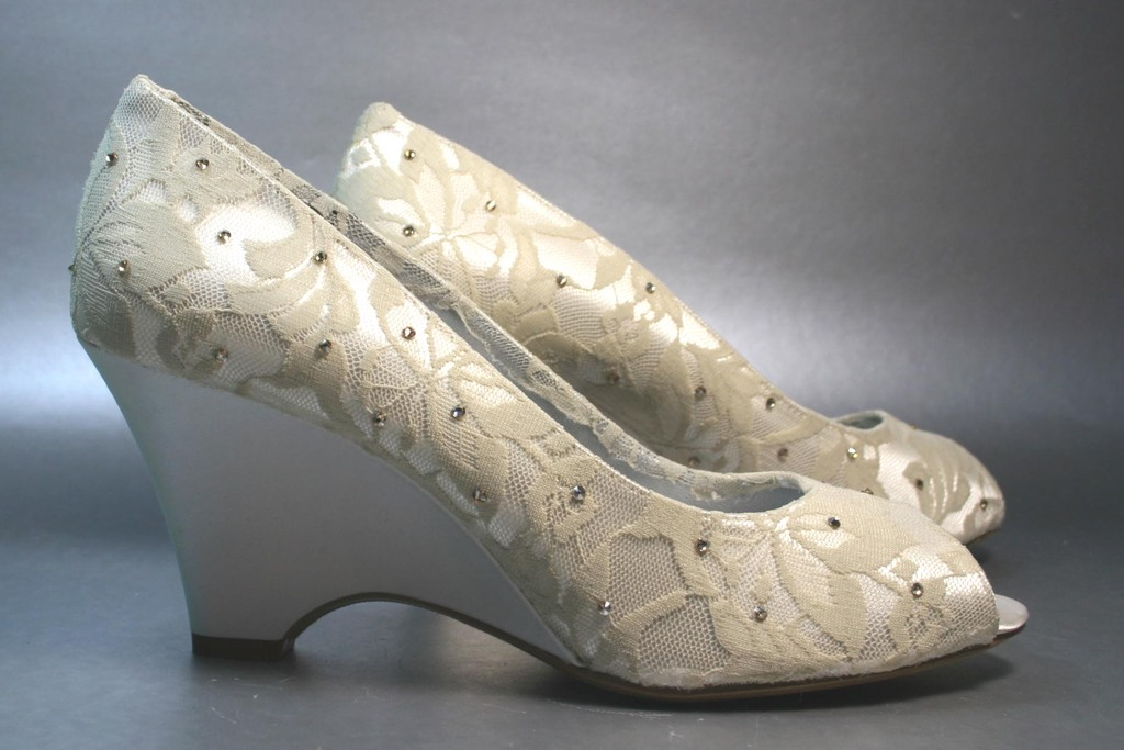 ivory lace wedge wedding shoes with crystals onewed