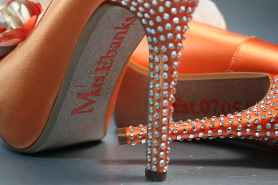 Orange satin wedding shoes with crystal encrusted heel
