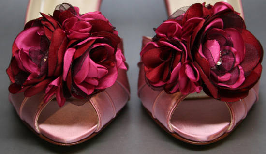 Pink and deep red peep toe wedding shoes