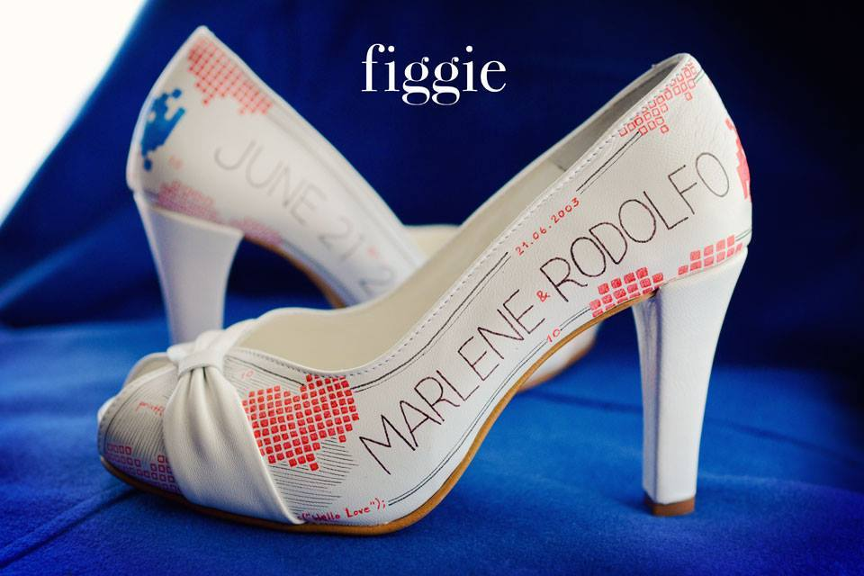 One of a kind wedding shoes personalized for the bride by Figgie 1