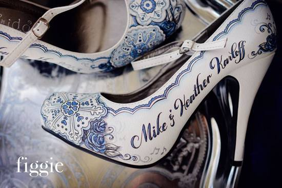 One of a kind wedding shoes personalized for the bride by Figgie 7