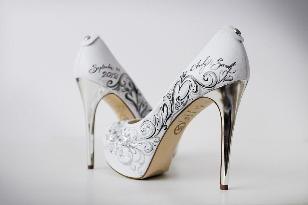 custom wedding shoes with silver heels