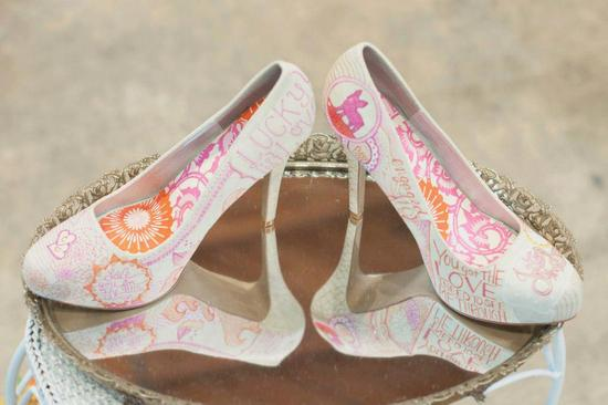 White orange and pink custom wedding shoes