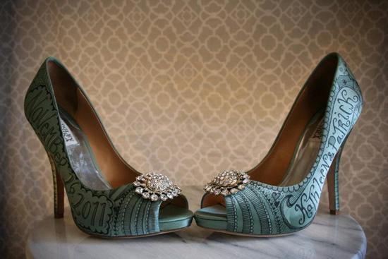 Satin teal Badgley Mischka wedding shoes with hand drawn design