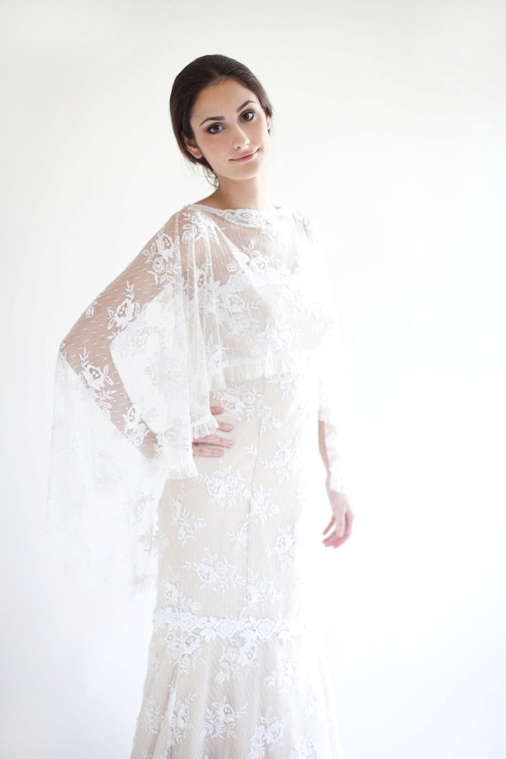 Sheer lace cape to wear over the wedding dress for Wedding dress with a cape