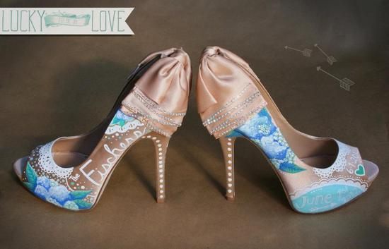 Peach satin wedding shoes with blue and aqua details
