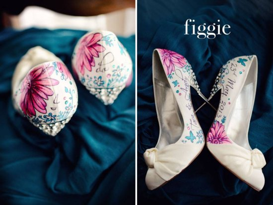 One of a kind wedding shoes personalized for the bride by Figgie 2