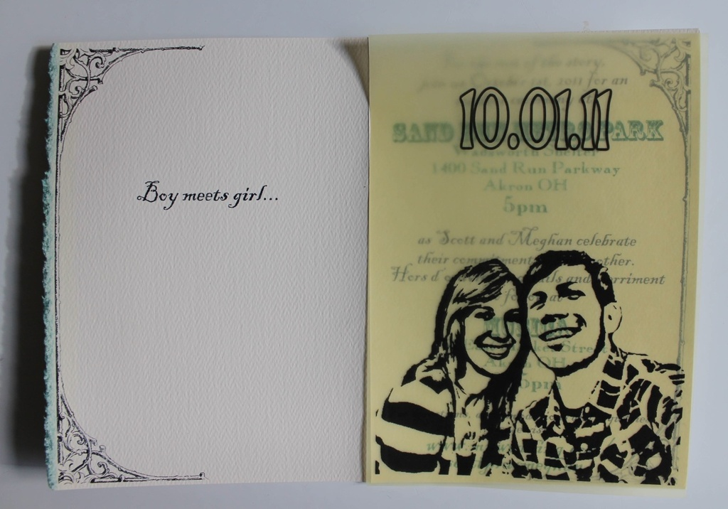 wedding invitations designed by the groom- portrait of the couple