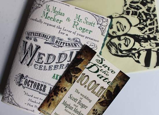 Custom wedding invitations designed by the groom- ivory, black, green wedding colors