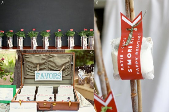 5 unique wedding favor ideas for rustic chic wedding styles- eco-planters, s'mores kits, CDs