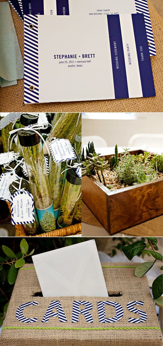 Real weddings, Austin, TX- rustic wedding guest favors, navy and white invitations