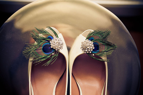 Real weddings, Austin, TX- ivory wedding shoes with peacock feathers