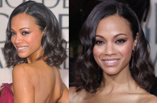 Short wedding hairstyles from the red carpet- Zoe Saldana