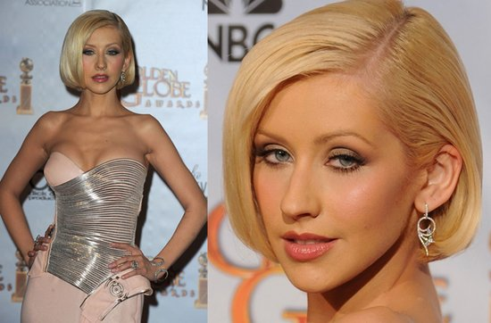 Short wedding hairstyles from the red carpet- Christina Aguilera