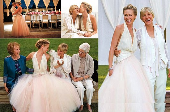 Celebrity brides by style- Ellen DeGeneres, Portia de Rossi, groundbreaking brides