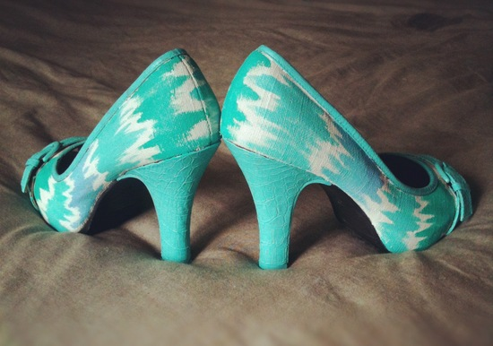 Custom aqua teal and ivory wedding shoes