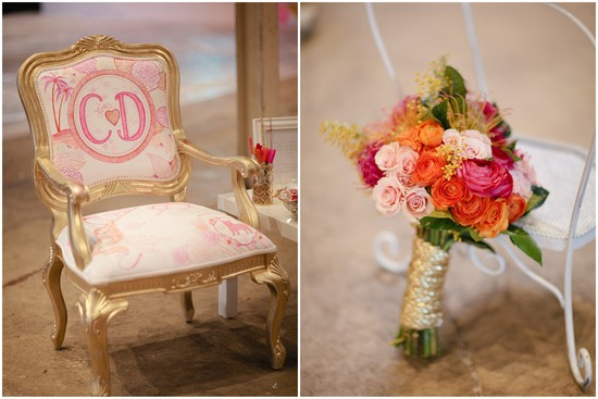 Custom painted wedding chair with bright bouquet