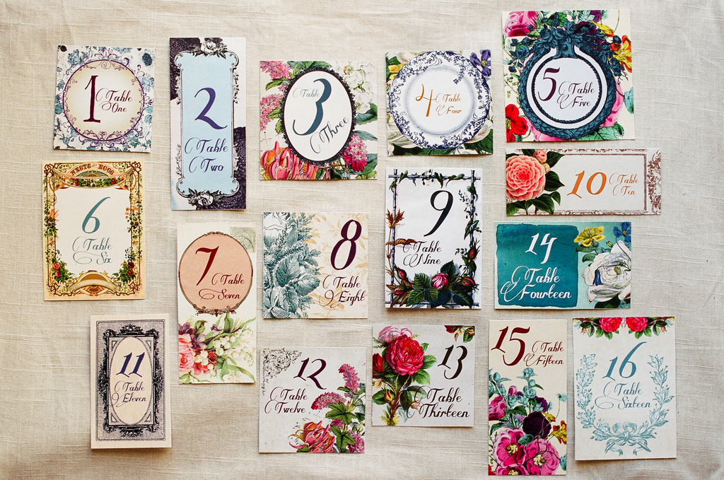 Beautiful floral wedding table numbers custom illustrated