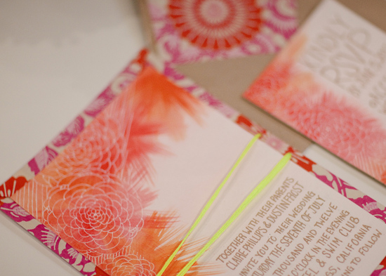 photo of Bright sunset wedding invitations
