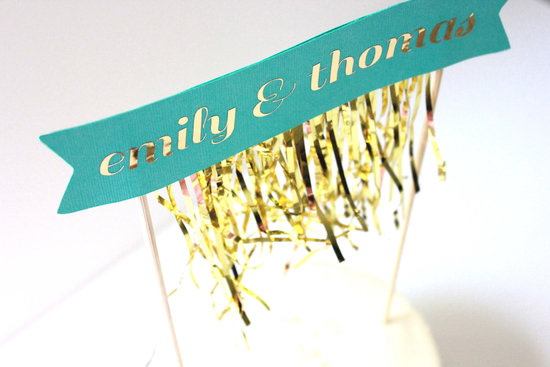 Gold and aqua fringe flag wedding cake topper