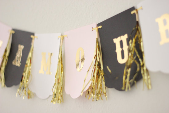 Fringe Lamour wedding banner in blush gold and black