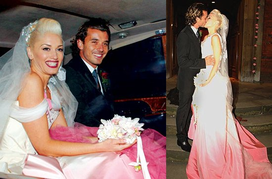 Celebrity brides by style- Gwen Stefani, daring bride in non-white wedding dress