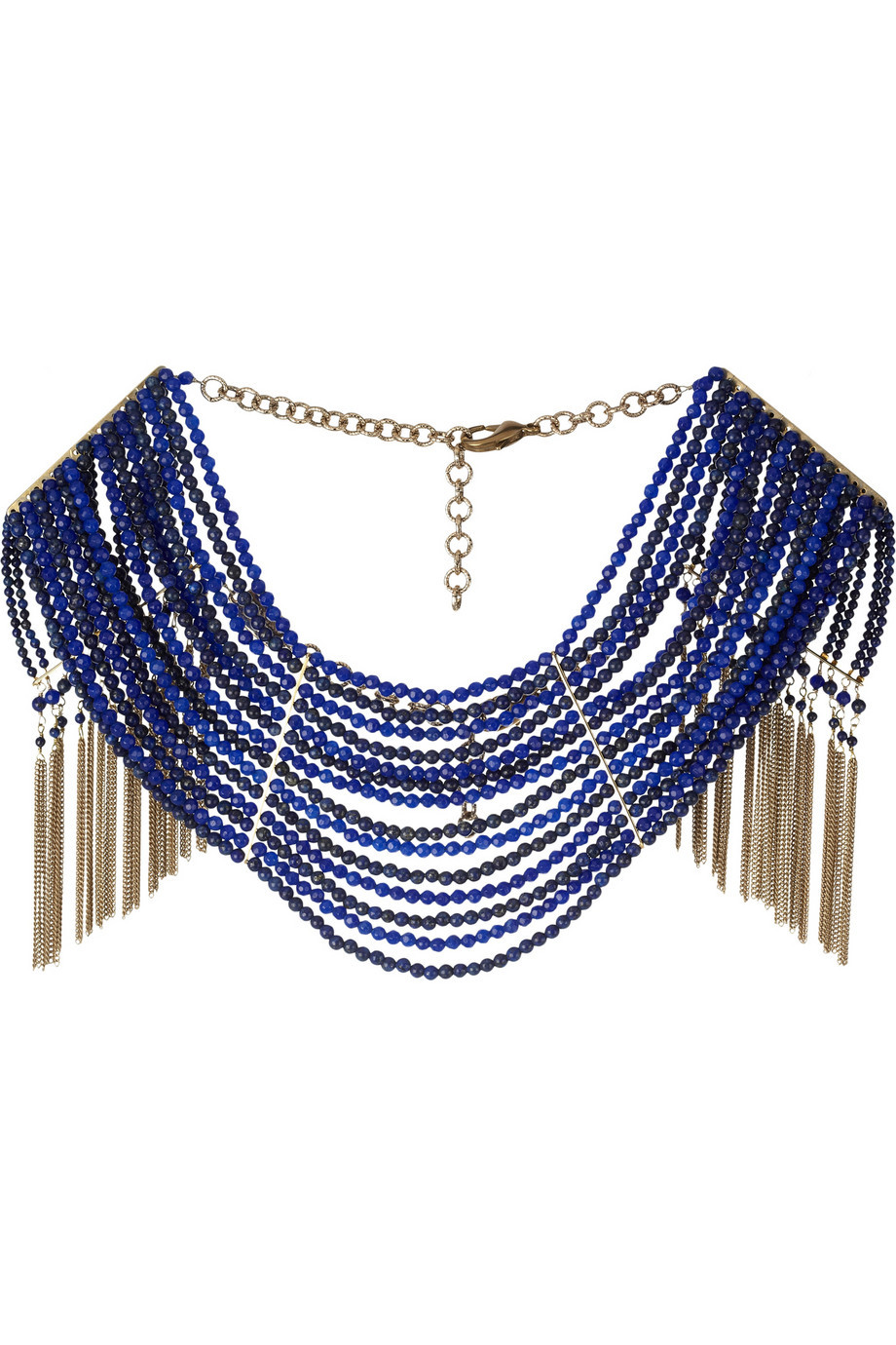 Blue and gold statement wedding necklace with fringe