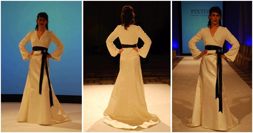 Long Sleeve Silk Velvet Burnout Wedding Dress With Black Sash And Rhinestone Brooch