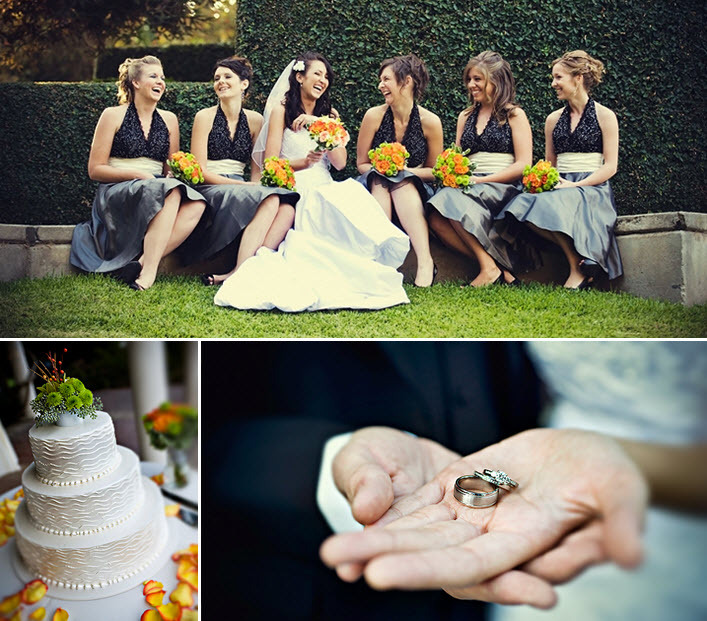 Bride-with-bridesmaids-grey-blue-black-white-dresses-orange-lime-green-bouquets-white-wedding-cake.full