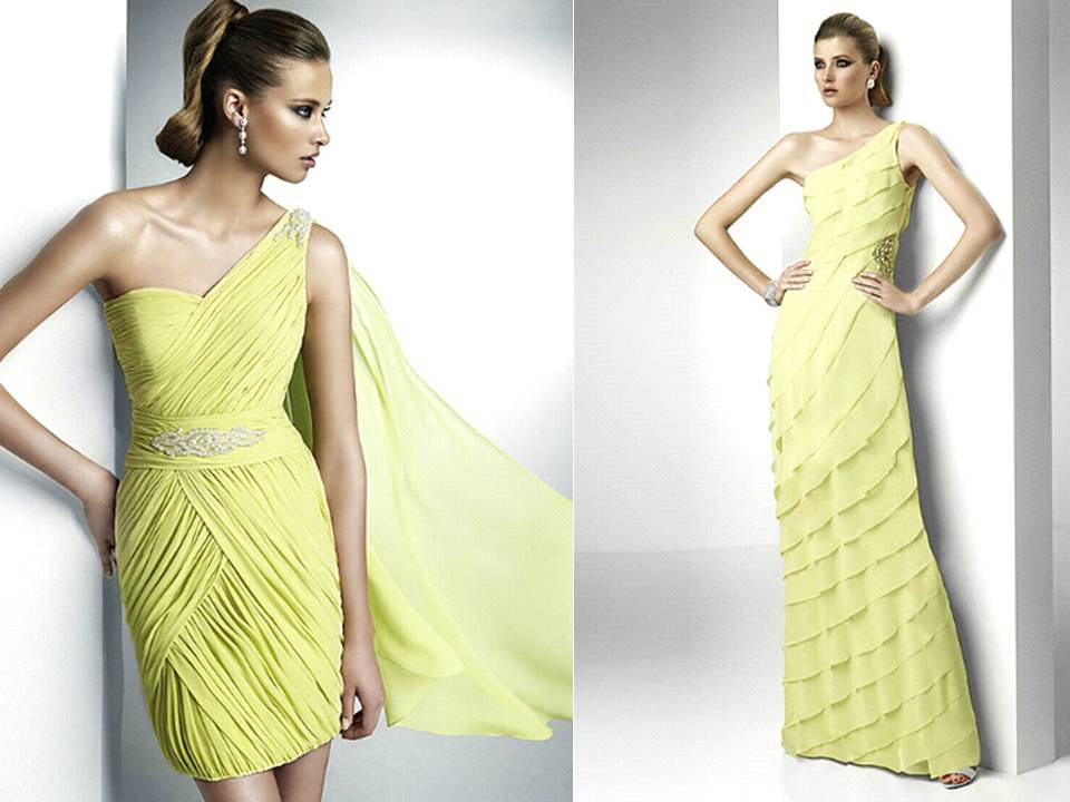 Yellow-bridesmaids-dresses-pronovias-bridal-gowns-one-shhoulder-grecian-inspired.full