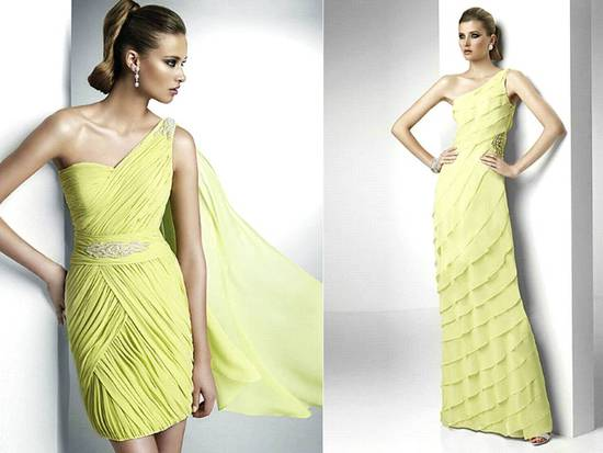 Lemon yellow Pronovias bridesmaids dresses with ruffled tiers and romantic draping