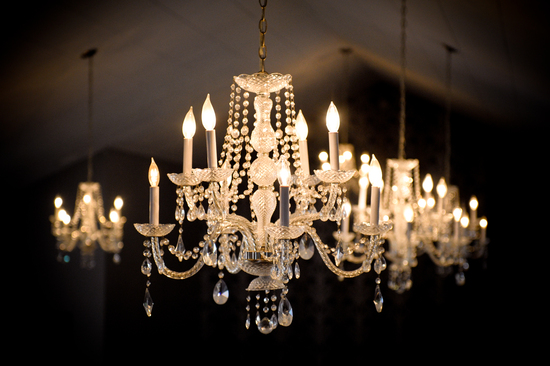 ROmantic wedding venue with sparkling chandelier