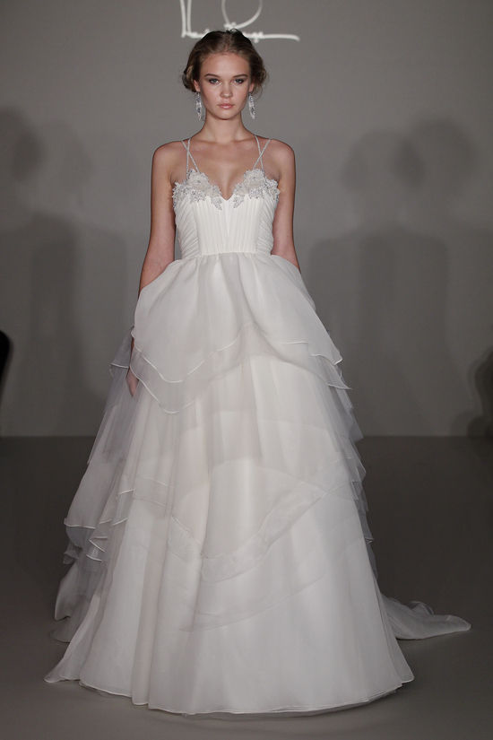 Hayley Paige 2012 wedding dress with ruffled tiers and floral embellishments