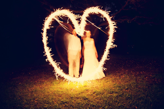 Real weddings, Austin, TX- outdoor evening reception with sparklers sendoff