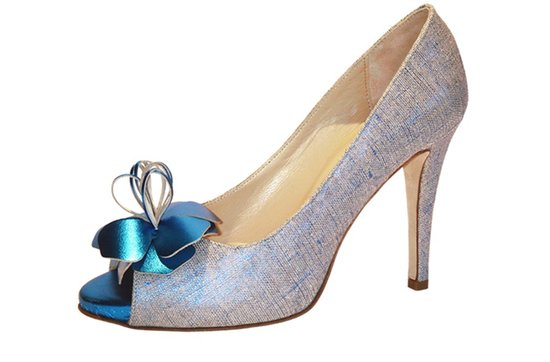 shimmery blue wedding shoes peep toe