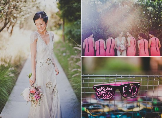 outdoor california wedding bride wears jenny packham wedding dress