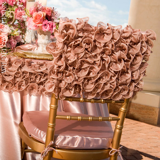 ruffle adorned wedding chairs gold chiavari orange peach pink covers